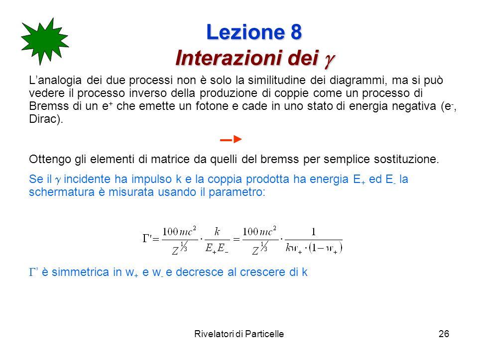 Rivelatori di Particelle26 Lezione 8 Interazioni dei Lezione 8 Interazioni dei Lanalogia dei due processi non è solo la similitudine dei diagrammi, ma
