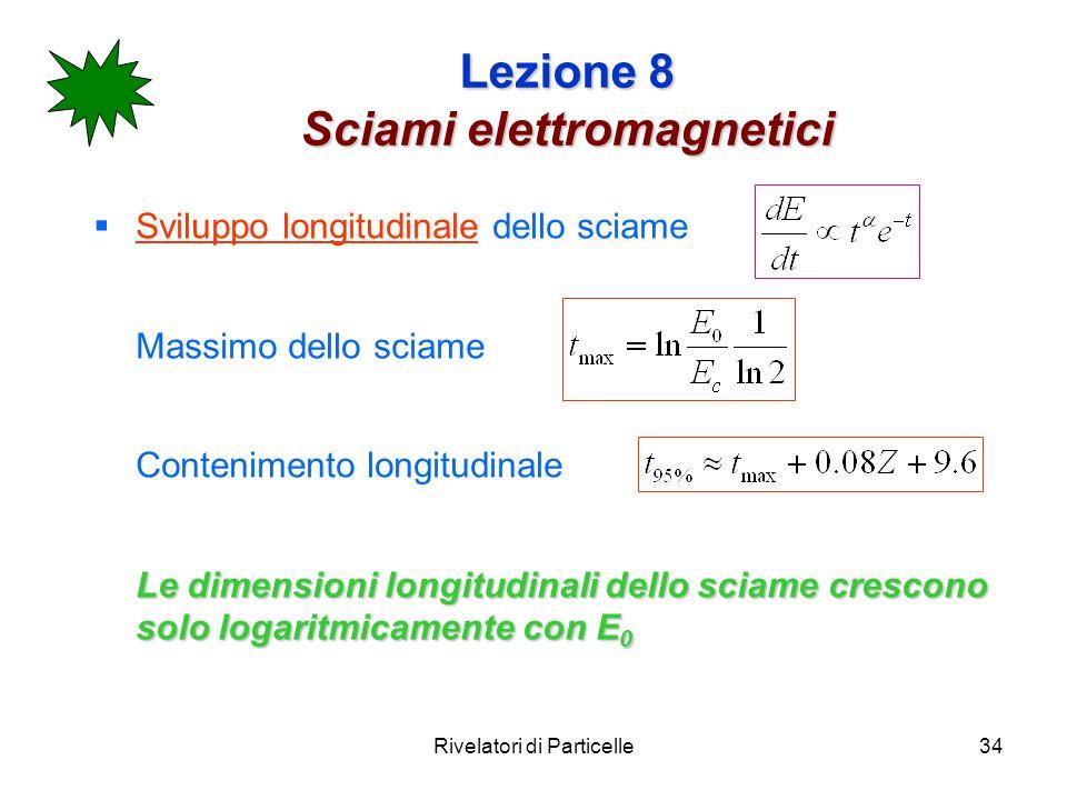 Rivelatori di Particelle34 Lezione 8 Sciami elettromagnetici Sviluppo longitudinale dello sciame Massimo dello sciame Contenimento longitudinale Le di