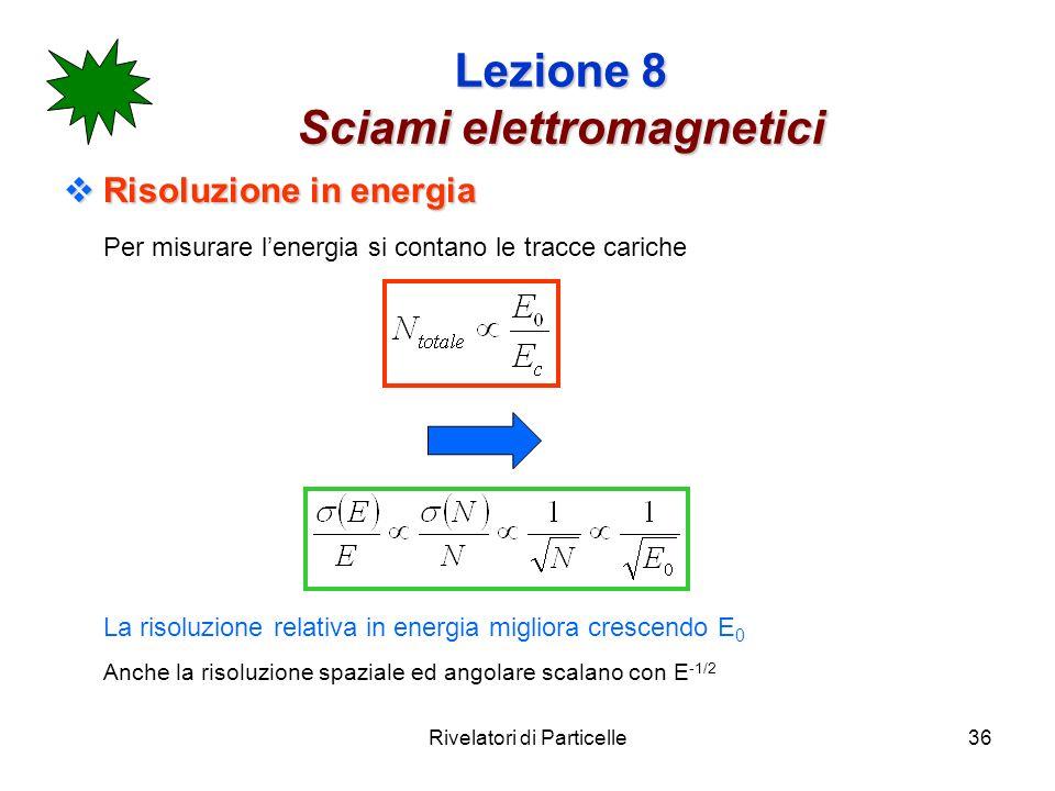 Rivelatori di Particelle36 Lezione 8 Sciami elettromagnetici Risoluzione in energia Risoluzione in energia Per misurare lenergia si contano le tracce