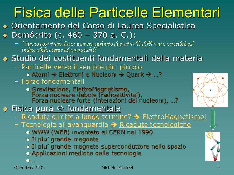 Open Day 2002 Michele Pauluzzi 12 Fisica delle Particelle a Perugia 2 sotto-orientamenti 2 sotto-orientamenti –Fisica delle Particelle (storica) –Fisica delle Astro-Particelle