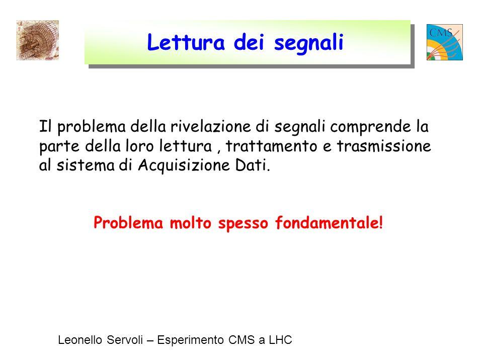 Leonello Servoli – Esperimento CMS a LHC Lettura dei segnali Il problema della rivelazione di segnali comprende la parte della loro lettura, trattamento e trasmissione al sistema di Acquisizione Dati.
