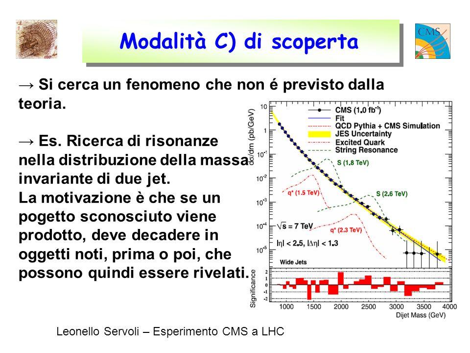 Leonello Servoli – Esperimento CMS a LHC Modalità C) di scoperta Si cerca un fenomeno che non é previsto dalla teoria.