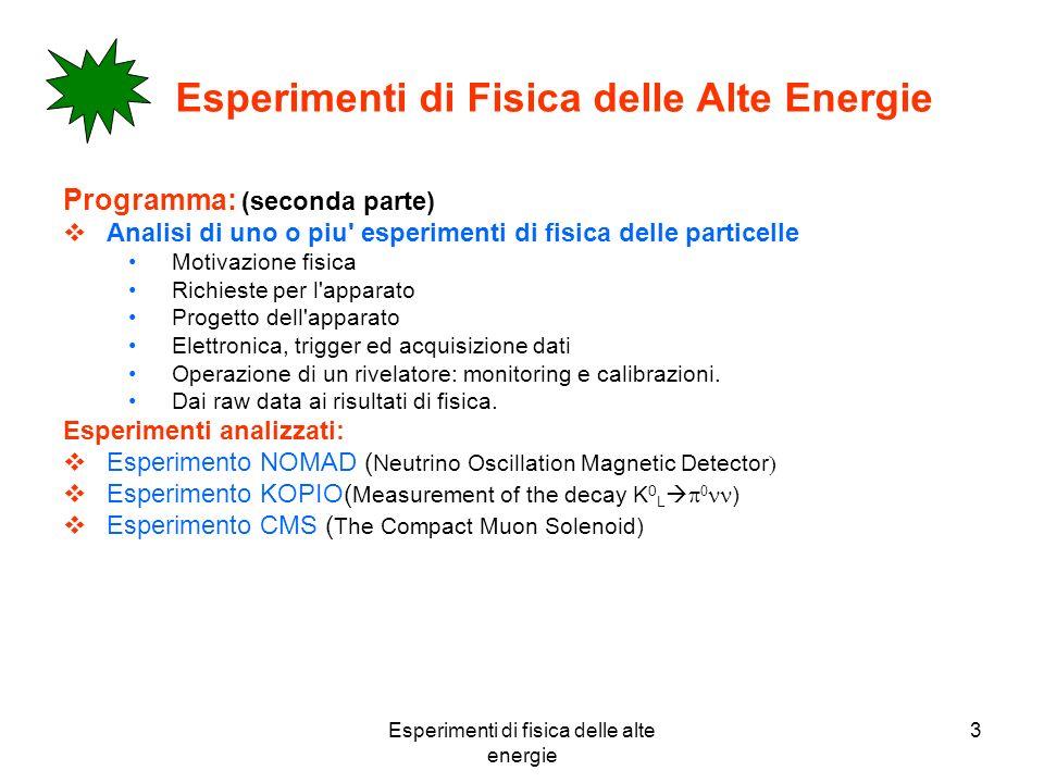 Esperimenti di fisica delle alte energie 3 Esperimenti di Fisica delle Alte Energie Programma: (seconda parte) Analisi di uno o piu' esperimenti di fi