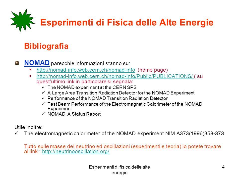 Esperimenti di fisica delle alte energie 4 Esperimenti di Fisica delle Alte Energie Bibliografia NOMAD parecchie informazioni stanno su: http://nomad-info.web.cern.ch/nomad-info (home page) http://nomad-info.web.cern.ch/nomad-info http://nomad-info.web.cern.ch/nomad-info/Public/PUBLICATIONS/ ( su questultimo link in particolare si segnala: http://nomad-info.web.cern.ch/nomad-info/Public/PUBLICATIONS/ The NOMAD experiment at the CERN SPS A Large Area Transition Radiation Detector for the NOMAD Experiment Performance of the NOMAD Transition Radiation Detector Test Beam Performance of the Electromagnetic Calorimeter of the NOMAD Experiment NOMAD, A Status Report Utile inoltre: The electromagnetic calorimeter of the NOMAD experiment NIM A373(1996)358-373 Tutto sulle masse del neutrino ed oscillazioni (esperimenti e teoria) lo potete trovare al link : http://neutrinooscillation.org/http://neutrinooscillation.org/