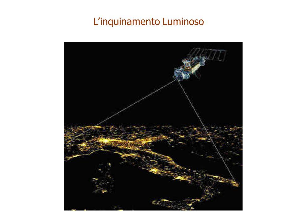 Crescita della luminanza artificiale del cielo nella pianura veneta in unità relative determinata in base alle misure di archivio di brillanza del cielo presso l Osservatorio Astrofisico di Asiago e lOsservatorio Astronomico dell Ekar (Cinzano 1998) Linquinamento Luminoso