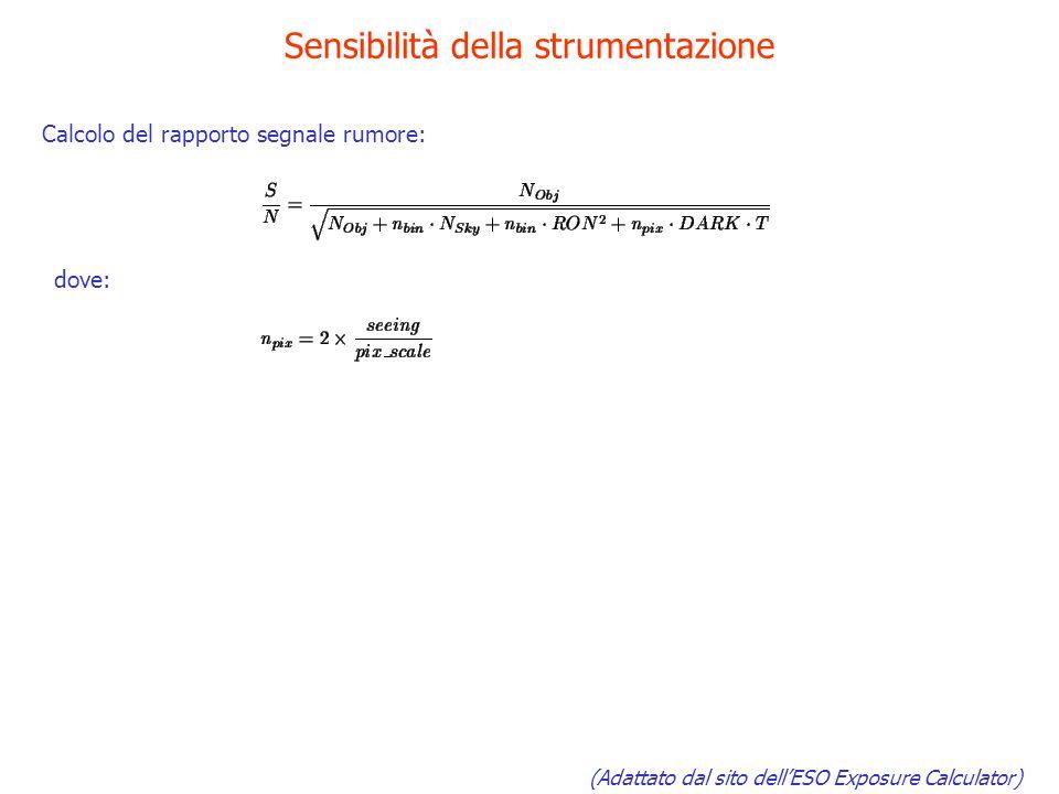 Sensibilità della strumentazione (Adattato dal sito dellESO Exposure Calculator) Calcolo del rapporto segnale rumore: dove: