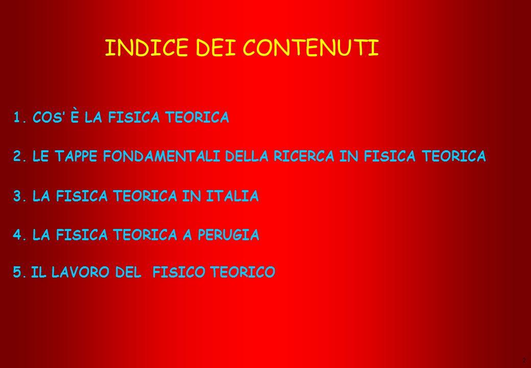 2 INDICE DEI CONTENUTI 1.COS È LA FISICA TEORICA 2.
