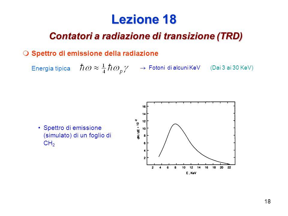 18 Lezione 18 Contatori a radiazione di transizione (TRD) Spettro di emissione della radiazione Energia tipica Fotoni di alcuni KeV Spettro di emissione (simulato) di un foglio di CH 2 (Dai 3 ai 30 KeV)
