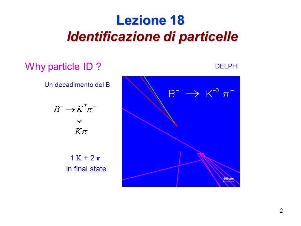 2 Lezione 18 Identificazione di particelle DELPHI Why particle ID .
