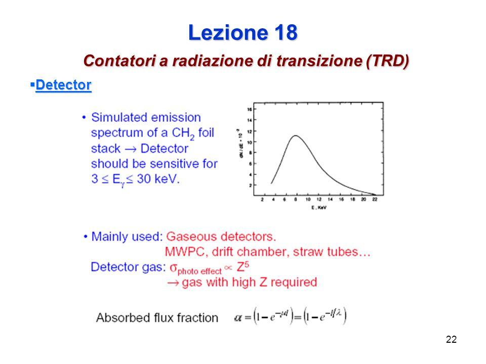 22 Lezione 18 Contatori a radiazione di transizione (TRD) Detector Detector