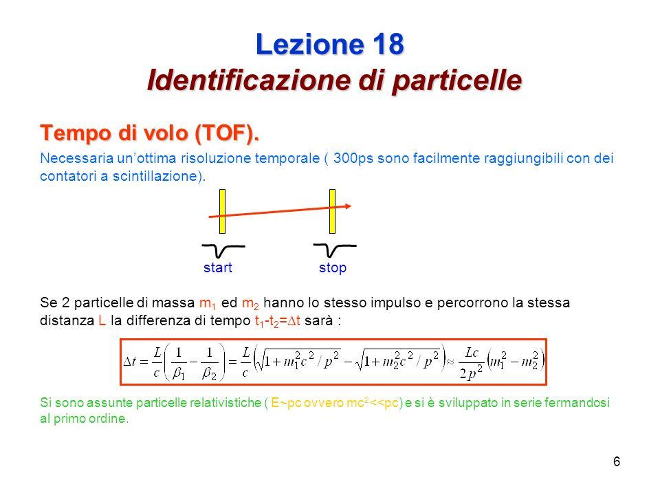 6 Lezione 18 Identificazione di particelle Tempo di volo (TOF).