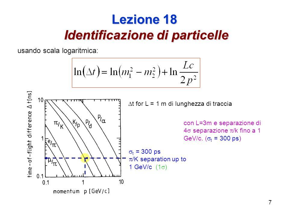 7 Lezione 18 Identificazione di particelle usando scala logaritmica: t for L = 1 m di lunghezza di traccia t = 300 ps /K separation up to 1 GeV/c (1 ) con L=3m e separazione di 4 separazione /k fino a 1 GeV/c.