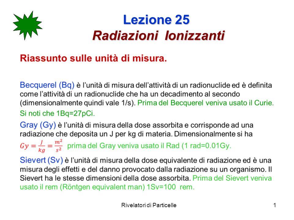 Rivelatori di Particelle1 Lezione 25 Radiazioni Ionizzanti