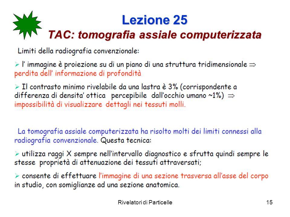 Rivelatori di Particelle15 Lezione 25 TAC: tomografia assiale computerizzata