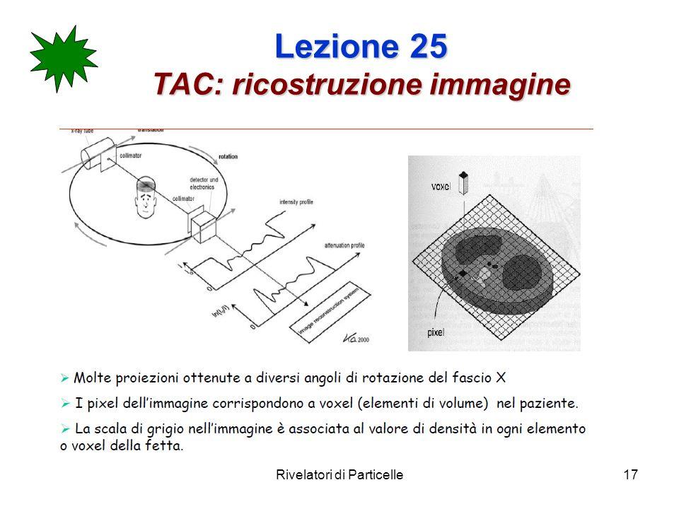 Rivelatori di Particelle17 Lezione 25 TAC: ricostruzione immagine