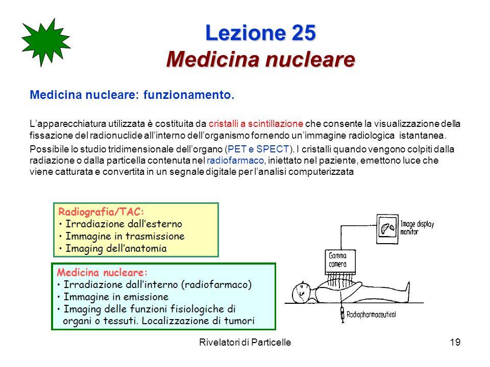 Rivelatori di Particelle19 Lezione 25 Medicina nucleare Medicina nucleare: funzionamento. Lapparecchiatura utilizzata è costituita da cristalli a scin