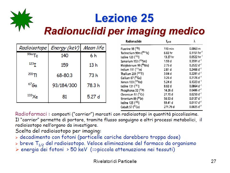 Rivelatori di Particelle27 Lezione 25 Radionuclidi per imaging medico