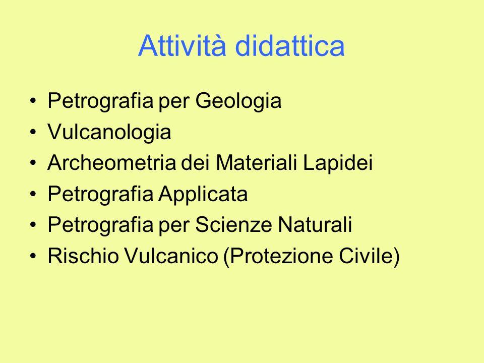 Attività didattica Petrografia per Geologia Vulcanologia Archeometria dei Materiali Lapidei Petrografia Applicata Petrografia per Scienze Naturali Ris