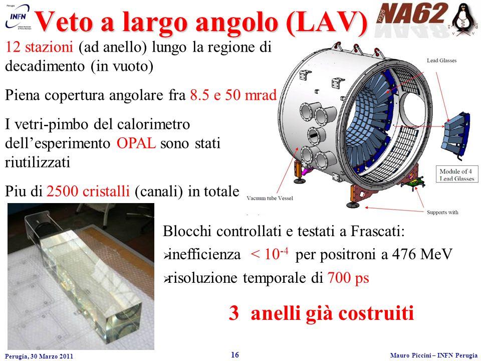 Perugia, 30 Marzo 2011 16 Mauro Piccini – INFN Perugia Veto a largo angolo (LAV) 12 stazioni (ad anello) lungo la regione di decadimento (in vuoto) Piena copertura angolare fra 8.5 e 50 mrad I vetri-pimbo del calorimetro dellesperimento OPAL sono stati riutilizzati Piu di 2500 cristalli (canali) in totale Blocchi controllati e testati a Frascati: inefficienza < 10 -4 per positroni a 476 MeV risoluzione temporale di 700 ps 3 anelli già costruiti