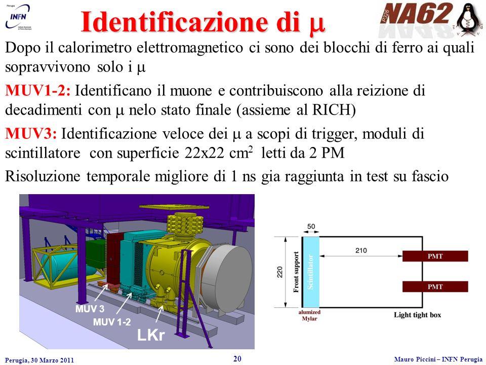 Perugia, 30 Marzo 2011 20 Mauro Piccini – INFN Perugia LKr MUV 1-2 MUV 3 Identificazione di Identificazione di Dopo il calorimetro elettromagnetico ci sono dei blocchi di ferro ai quali sopravvivono solo i MUV1-2: Identificano il muone e contribuiscono alla reizione di decadimenti con nelo stato finale (assieme al RICH) MUV3: Identificazione veloce dei a scopi di trigger, moduli di scintillatore con superficie 22x22 cm 2 letti da 2 PM Risoluzione temporale migliore di 1 ns gia raggiunta in test su fascio