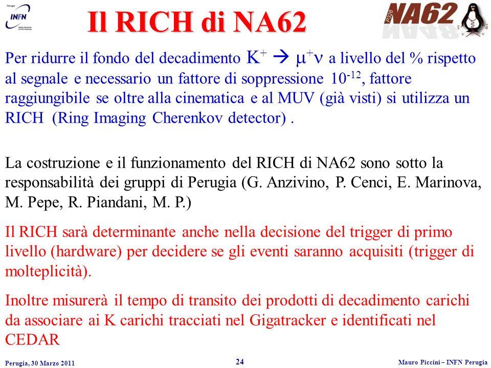 Perugia, 30 Marzo 2011 24 Mauro Piccini – INFN Perugia Il RICH di NA62 Per ridurre il fondo del decadimento K + + a livello del % rispetto al segnale e necessario un fattore di soppressione 10 -12, fattore raggiungibile se oltre alla cinematica e al MUV (già visti) si utilizza un RICH (Ring Imaging Cherenkov detector).