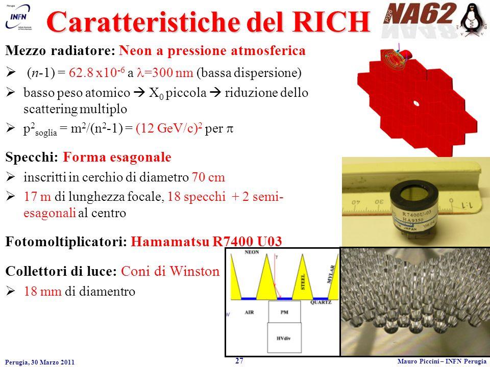 Perugia, 30 Marzo 2011 27 Mauro Piccini – INFN Perugia Mezzo radiatore: Neon a pressione atmosferica (n-1) = 62.8 x10 -6 a =300 nm (bassa dispersione) basso peso atomico X 0 piccola riduzione dello scattering multiplo p 2 soglia = m 2 /(n 2 -1) = (12 GeV/c) 2 per Specchi: Forma esagonale inscritti in cerchio di diametro 70 cm 17 m di lunghezza focale, 18 specchi + 2 semi- esagonali al centro Fotomoltiplicatori: Hamamatsu R7400 U03 Collettori di luce: Coni di Winston 18 mm di diamentro Caratteristiche del RICH