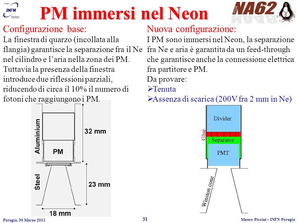 Perugia, 30 Marzo 2011 31 Mauro Piccini – INFN Perugia PM immersi nel Neon Configurazione base: La finestra di quarzo (incollata alla flangia) garantisce la separazione fra il Ne nel cilindro e laria nella zona dei PM.