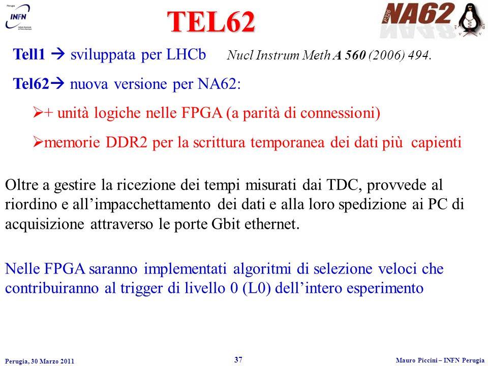 Perugia, 30 Marzo 2011 37 Mauro Piccini – INFN Perugia Tell1 sviluppata per LHCb Nucl Instrum Meth A 560 (2006) 494.