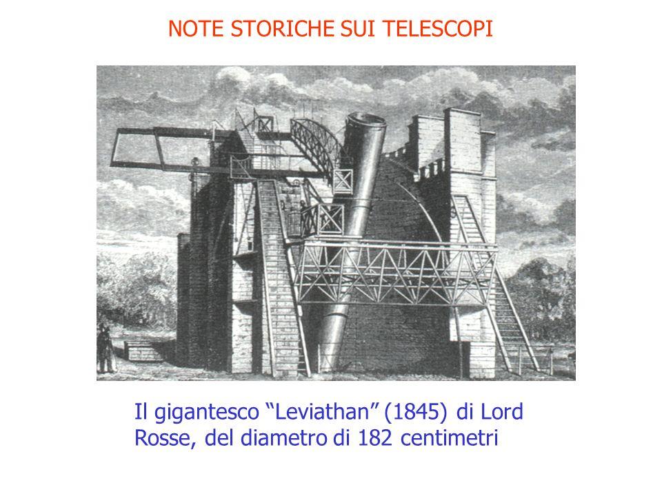 NOTE STORICHE SUI TELESCOPI Il gigantesco Leviathan (1845) di Lord Rosse, del diametro di 182 centimetri
