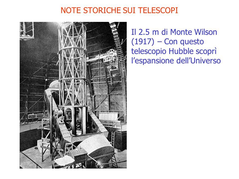 NOTE STORICHE SUI TELESCOPI Il 2.5 m di Monte Wilson (1917) – Con questo telescopio Hubble scoprì lespansione dellUniverso