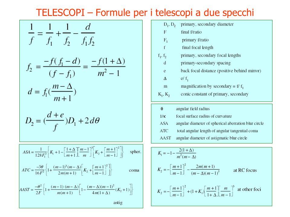TELESCOPI – Formule per i telescopi a due specchi