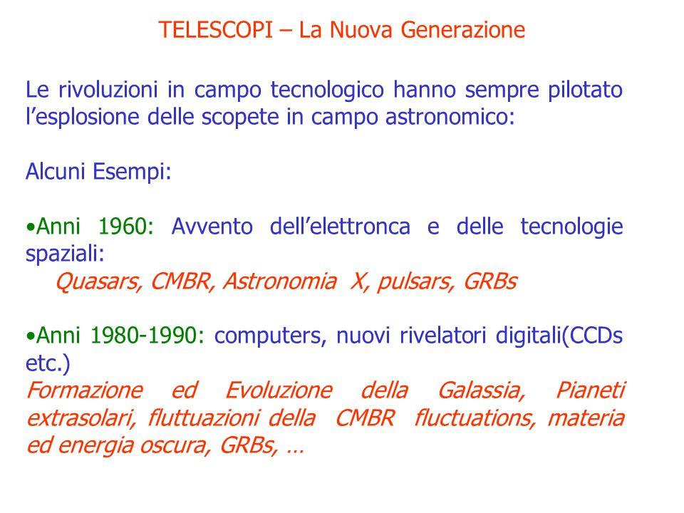 TELESCOPI – La Nuova Generazione Le rivoluzioni in campo tecnologico hanno sempre pilotato lesplosione delle scopete in campo astronomico: Alcuni Esem