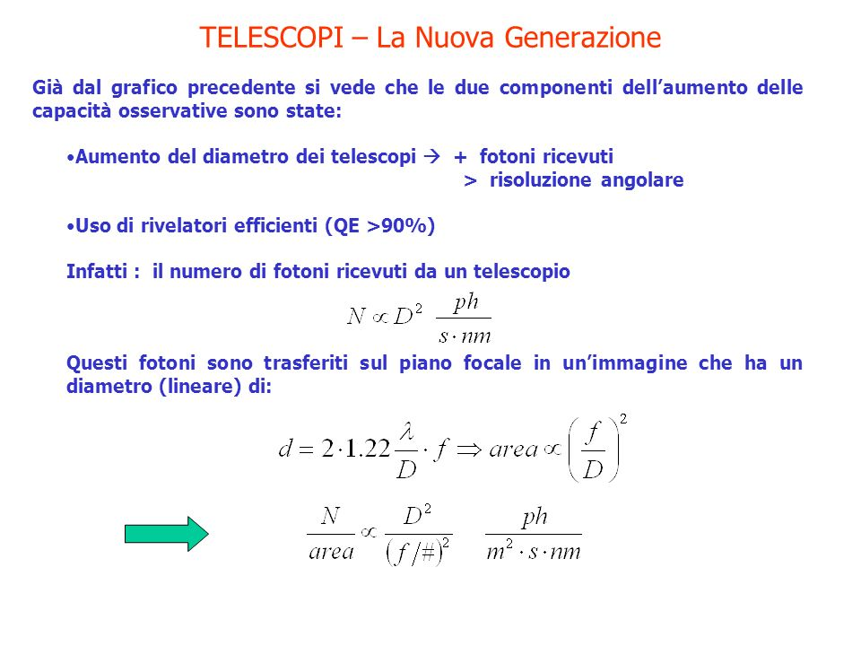 TELESCOPI – La Nuova Generazione Già dal grafico precedente si vede che le due componenti dellaumento delle capacità osservative sono state: Aumento d