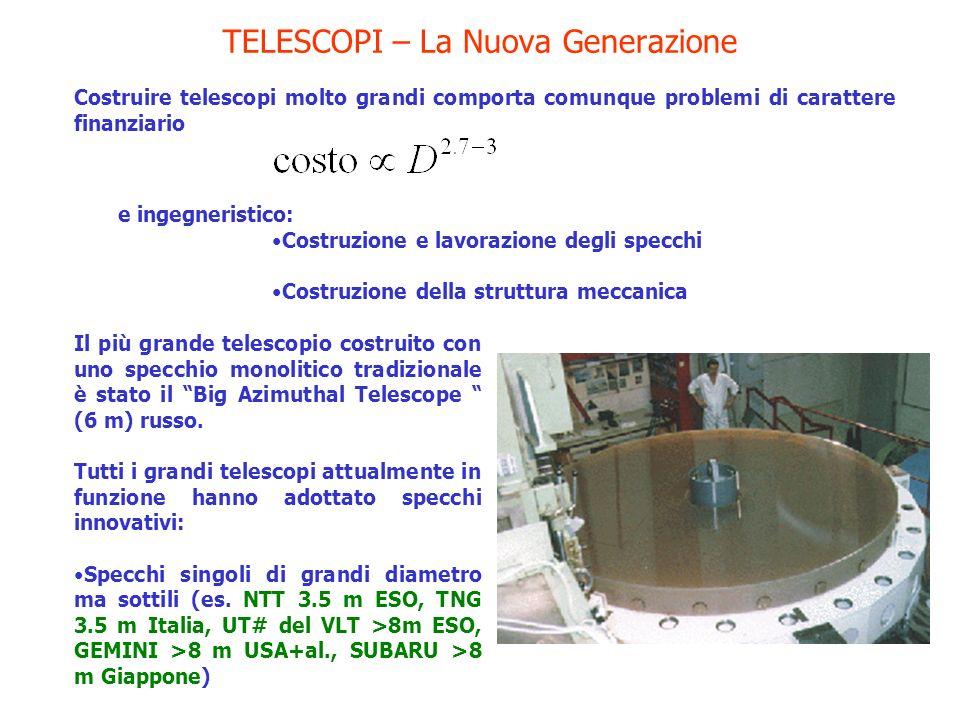 TELESCOPI – La Nuova Generazione Costruire telescopi molto grandi comporta comunque problemi di carattere finanziario e ingegneristico: Costruzione e