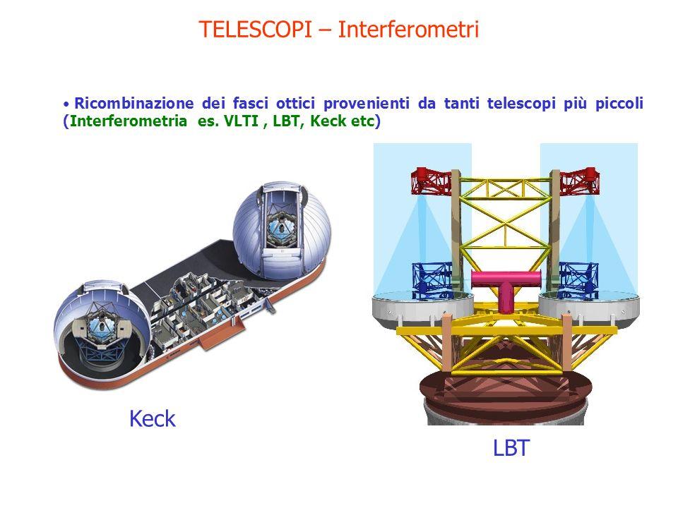 TELESCOPI – Interferometri Ricombinazione dei fasci ottici provenienti da tanti telescopi più piccoli (Interferometria es. VLTI, LBT, Keck etc) Keck L