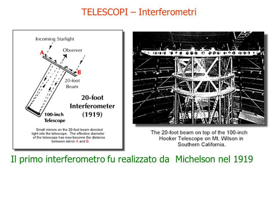TELESCOPI – Interferometri Il primo interferometro fu realizzato da Michelson nel 1919
