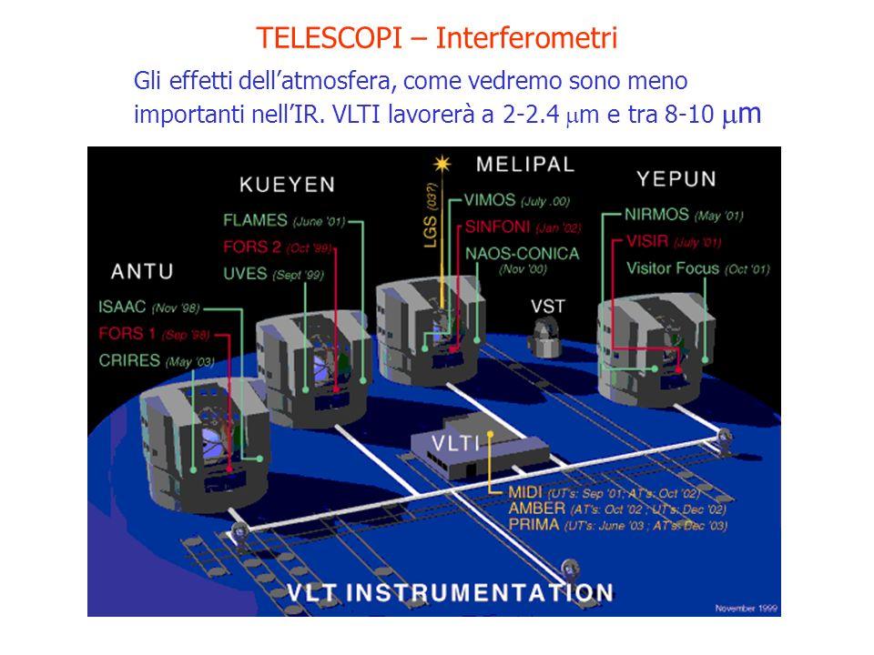TELESCOPI – Interferometri Gli effetti dellatmosfera, come vedremo sono meno importanti nellIR. VLTI lavorerà a 2-2.4 m e tra 8-10 m