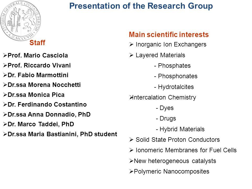 Presentation of the Research Group Prof. Mario Casciola Prof. Riccardo Vivani Dr. Fabio Marmottini Dr.ssa Morena Nocchetti Dr.ssa Monica Pica Dr. Ferd