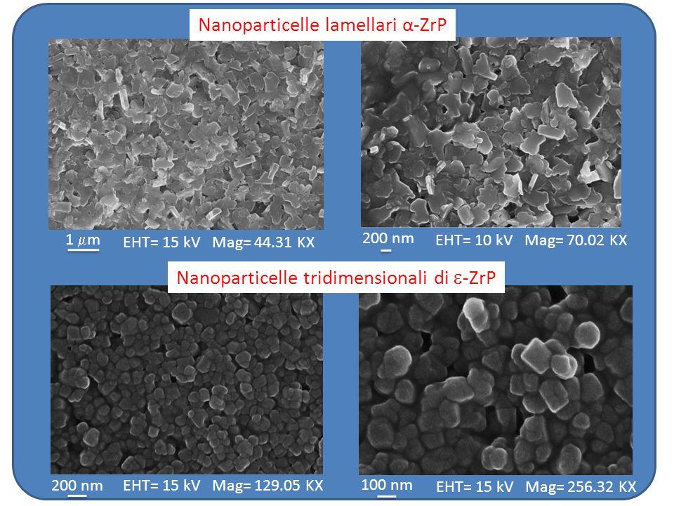 Nanoparticelle lamellari α-ZrP EHT= 15 kV Mag= 44.31 KX 1 m 200 nm EHT= 10 kV Mag= 70.02 KX EHT= 15 kV Mag= 129.05 KX EHT= 15 kV Mag= 256.32 KX 200 nm