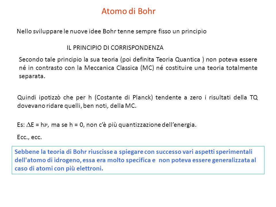 IL PRINCIPIO DI CORRISPONDENZA Nello sviluppare le nuove idee Bohr tenne sempre fisso un principio Secondo tale principio la sua teoria (poi definita