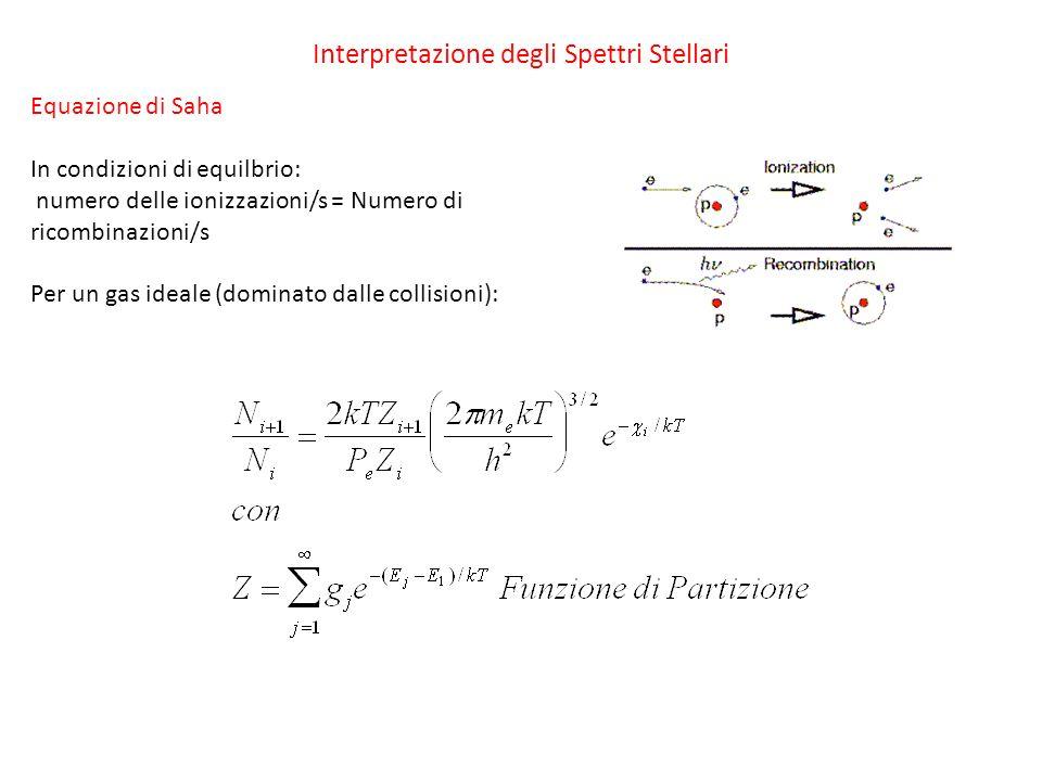 Interpretazione degli Spettri Stellari Equazione di Saha In condizioni di equilbrio: numero delle ionizzazioni/s = Numero di ricombinazioni/s Per un g