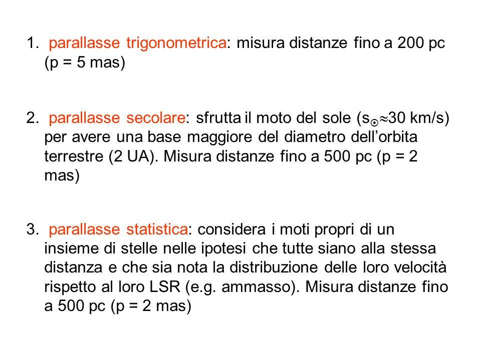 1. parallasse trigonometrica: misura distanze fino a 200 pc (p = 5 mas) 2. parallasse secolare: sfrutta il moto del sole (s 30 km/s) per avere una bas