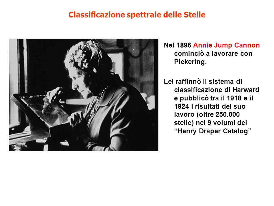 Classificazione spettrale delle Stelle Nel 1896 Annie Jump Cannon cominciò a lavorare con Pickering. Lei raffinnò il sistema di classificazione di Har
