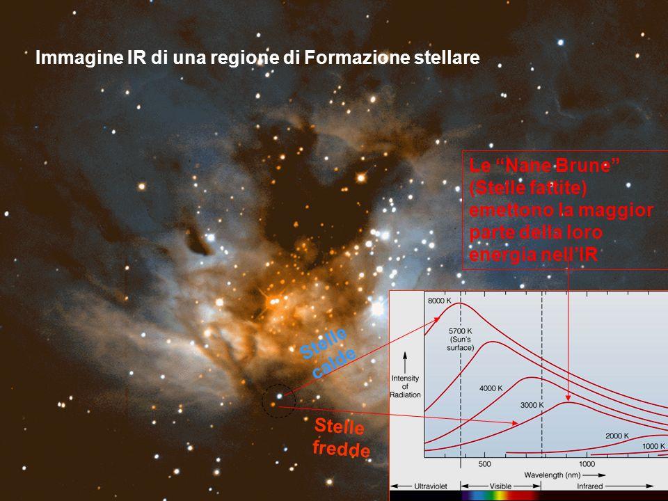 Stelle calde Stelle fredde Le Nane Brune (Stelle fattite) emettono la maggior parte della loro energia nellIR Immagine IR di una regione di Formazione