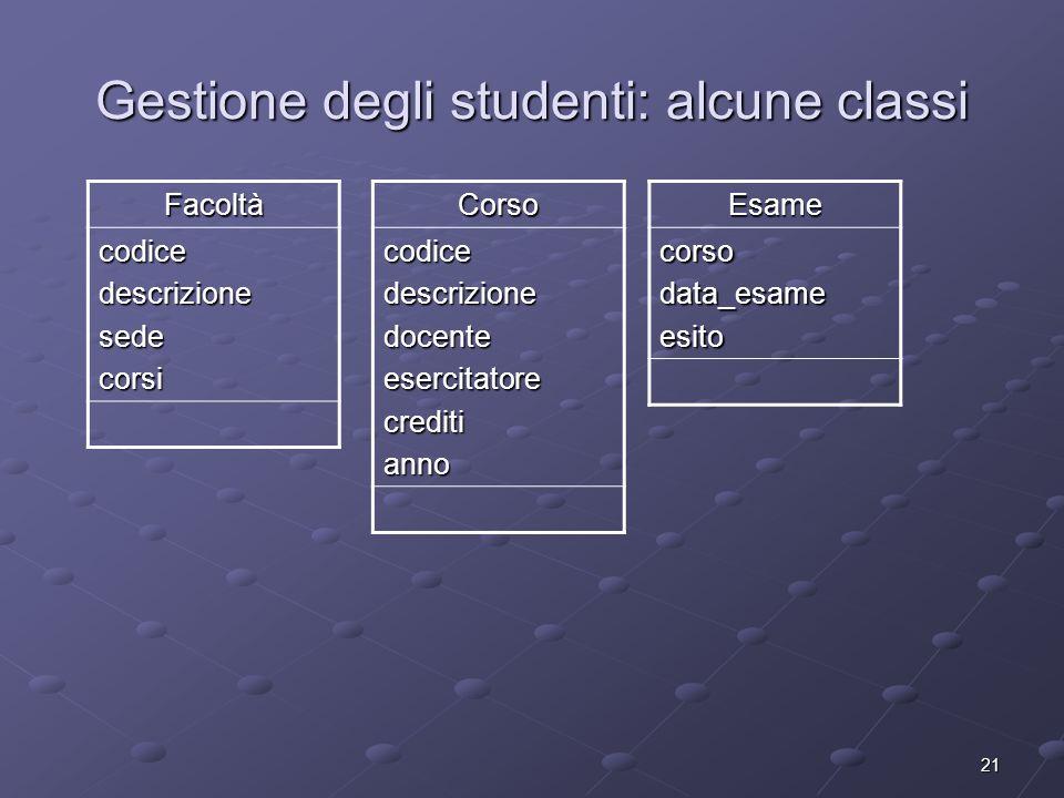 21 Gestione degli studenti: alcune classi Facoltà codicedescrizionesedecorsiCorsocodicedescrizionedocenteesercitatorecreditiannoEsamecorsodata_esamees