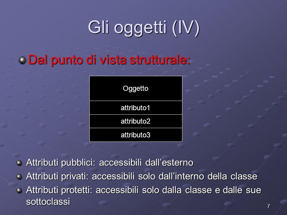 7 Gli oggetti (IV) Dal punto di vista strutturale: Oggetto attributo1 attributo2 attributo3 Attributi pubblici: accessibili dallesterno Attributi privati: accessibili solo dallinterno della classe Attributi protetti: accessibili solo dalla classe e dalle sue sottoclassi