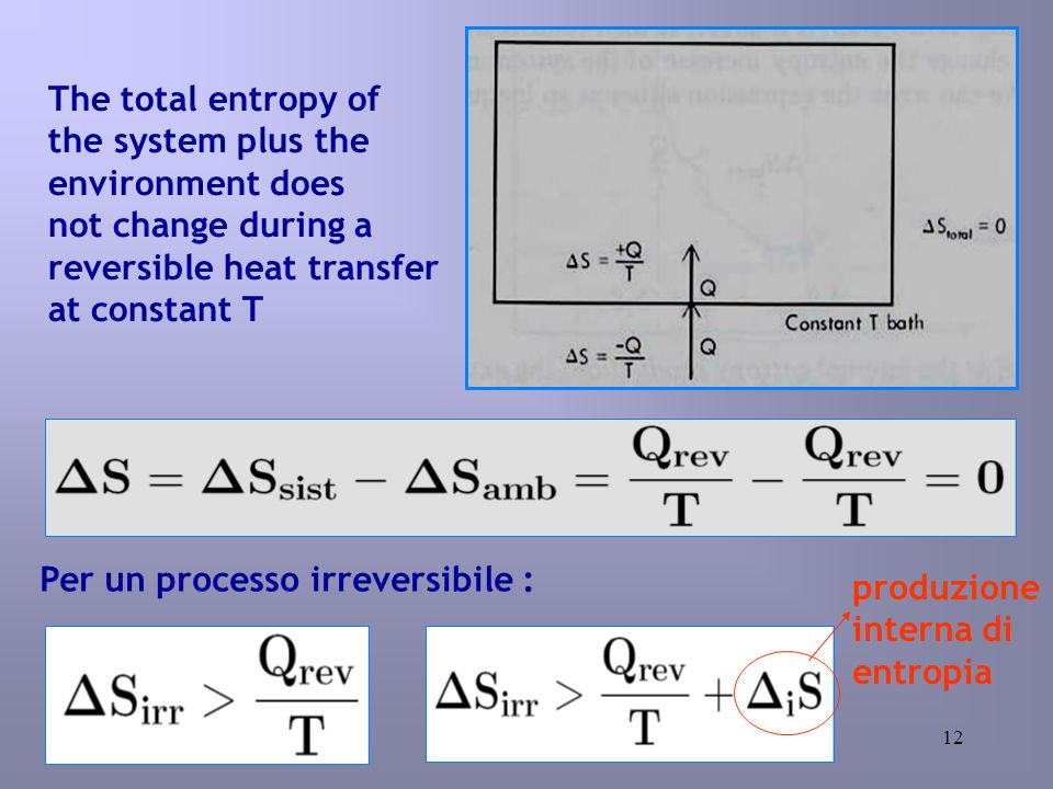 12 The total entropy of the system plus the environment does not change during a reversible heat transfer at constant T Per un processo irreversibile : produzione interna di entropia