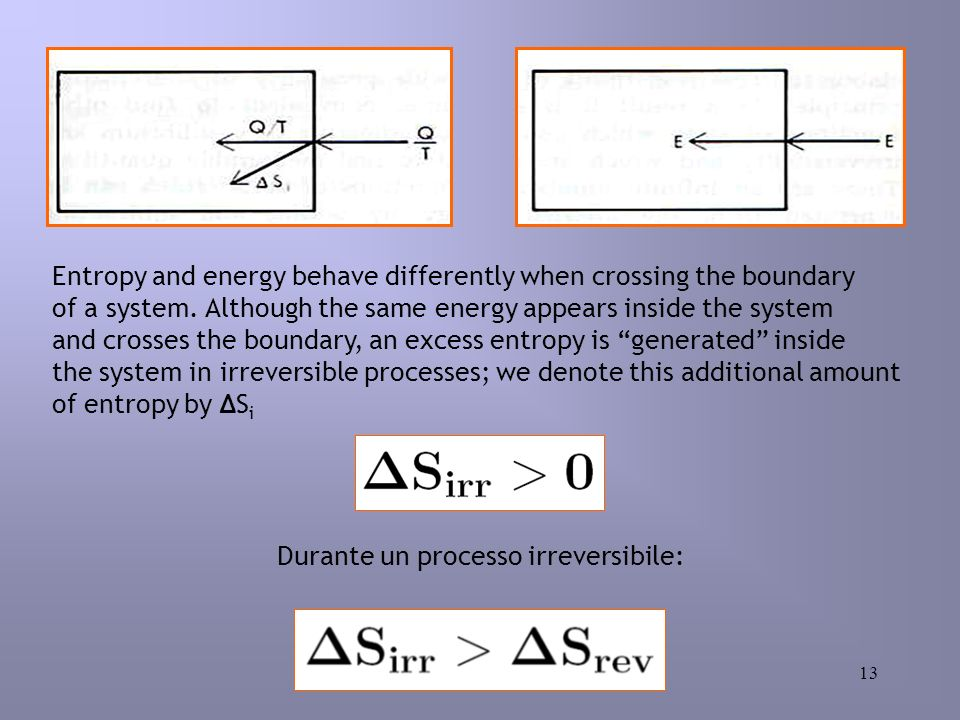 13 Durante un processo irreversibile: Entropy and energy behave differently when crossing the boundary of a system.