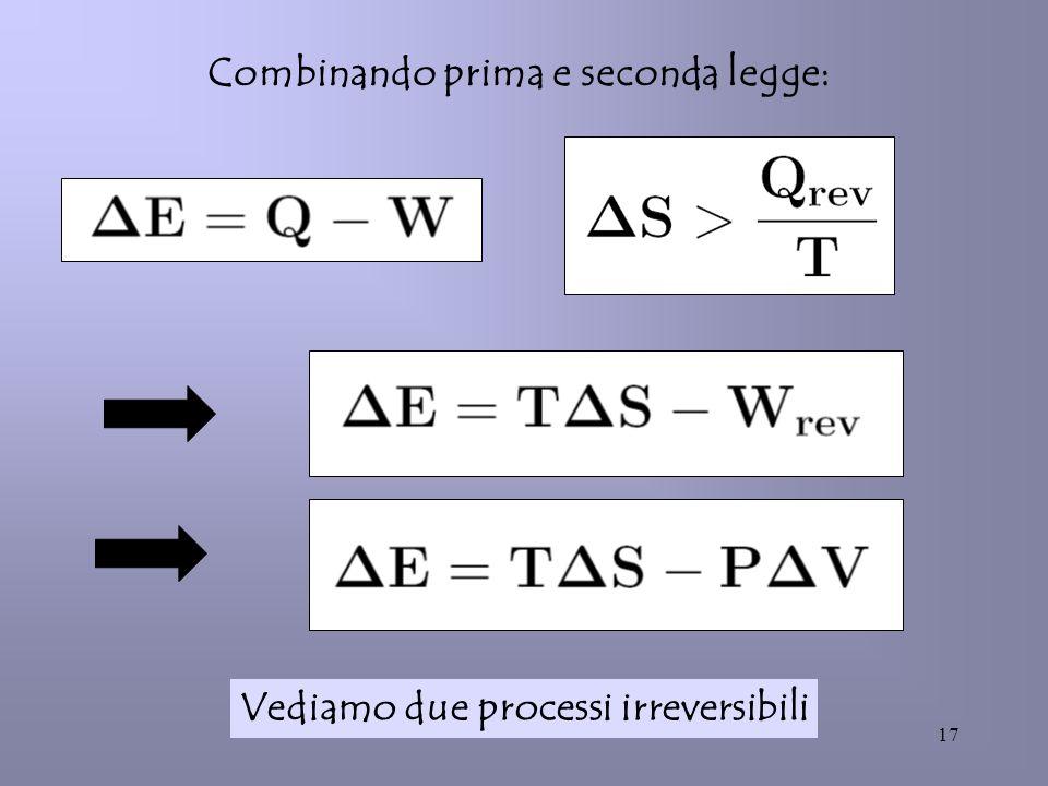 17 Combinando prima e seconda legge: Vediamo due processi irreversibili