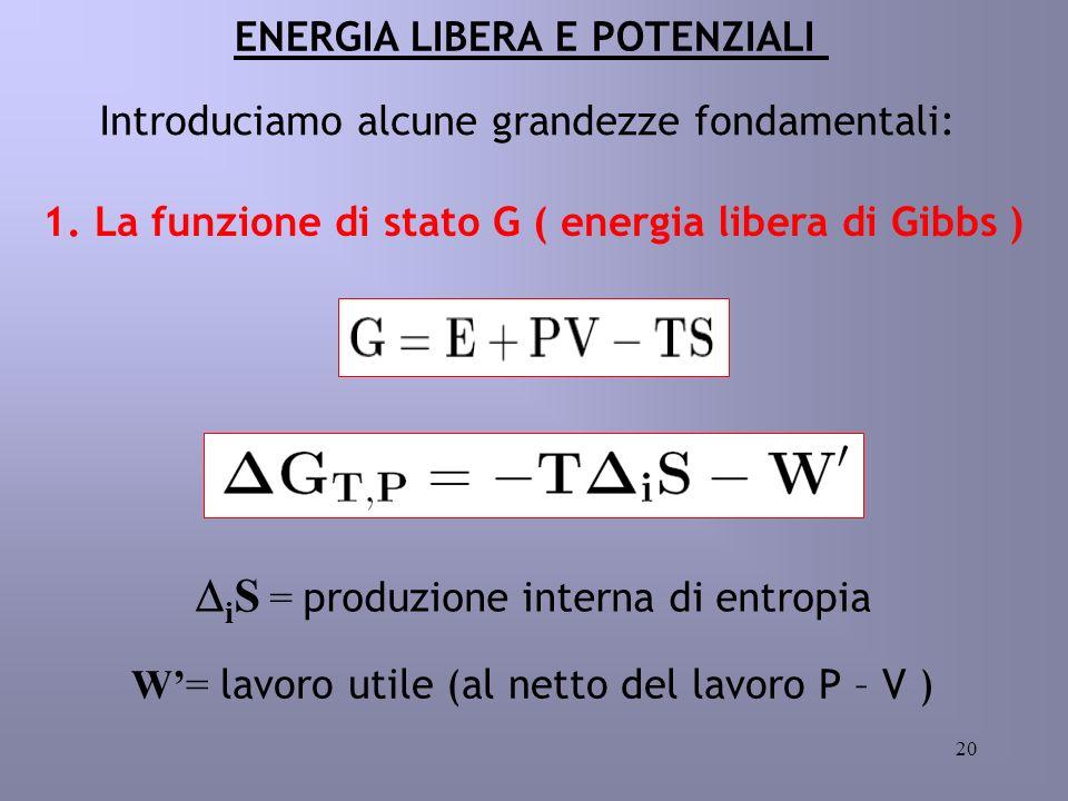20 ENERGIA LIBERA E POTENZIALI 1. La funzione di stato G ( energia libera di Gibbs ) Introduciamo alcune grandezze fondamentali: i S = produzione inte